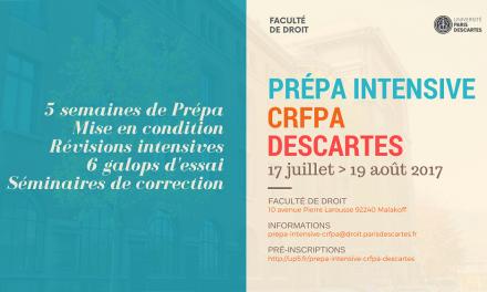 Une prépa intensive d'été CRFPA à Paris Descartes