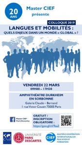 Langues et Mobilités : quels enjeux dans un monde « global » ? @ Amphithéâtre Durkheim - Sorbonne